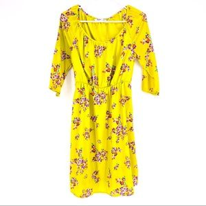 Old Navy Floral neon yellow dress